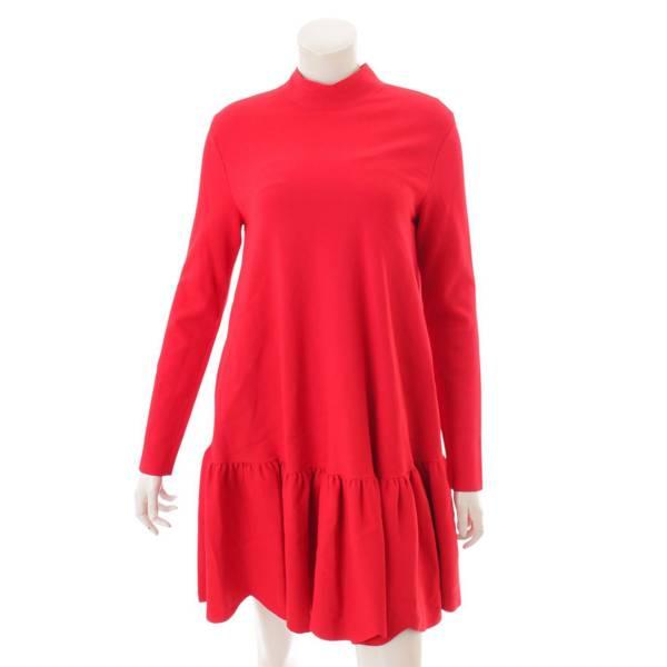 Scalloped Ruffle Trapeze Dress 長袖 モックネック ワンピース QB0KD0824C9 レッド M