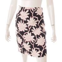 フラワープリント タイトスカート 花柄 ひざ丈 ブラック ホワイト ピンク 36