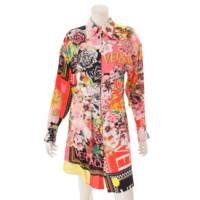 シルク メデューサボタン シャツ ワンピース 花柄 総柄 マルチカラー 38