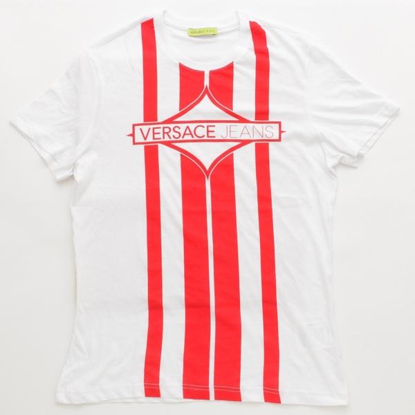 ジーンズ メンズ ロゴ Tシャツ トップス ホワイト×レッド M
