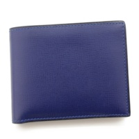 レザー 二つ折り財布 V8L41 ブルー
