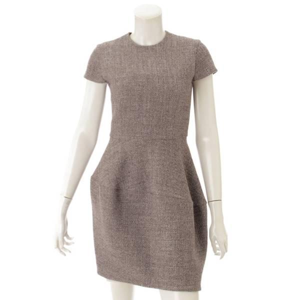 14AW ツイード バルーン ワンピース ドレス YCD-314 グレー 36