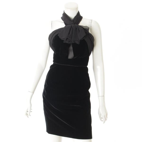 ベロア リボン チューブトップ ドレス ワンピース ブラック 34